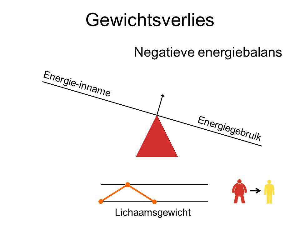 Gewichtsverlies Negatieve energiebalans Energie-inname Energiegebruik