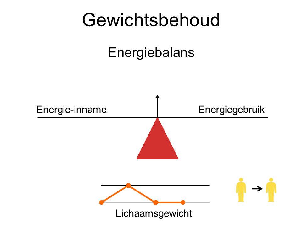 Gewichtsbehoud Energiebalans Energie-inname Energiegebruik