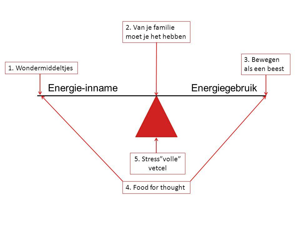 Energie-inname Energiegebruik 2. Van je familie moet je het hebben