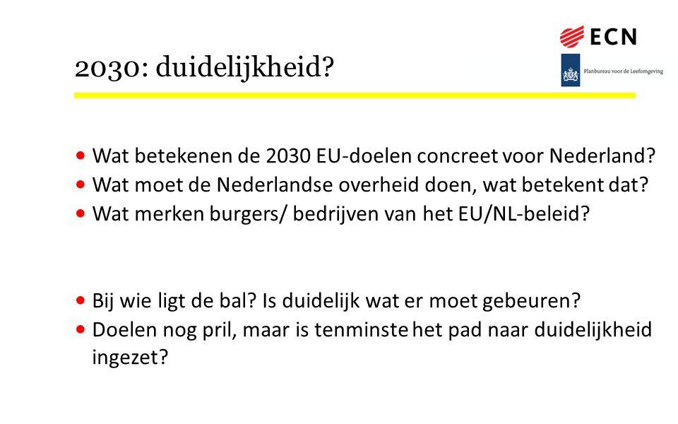 2030: duidelijkheid April 8, 2017. Wat betekenen de 2030 EU-doelen concreet voor Nederland