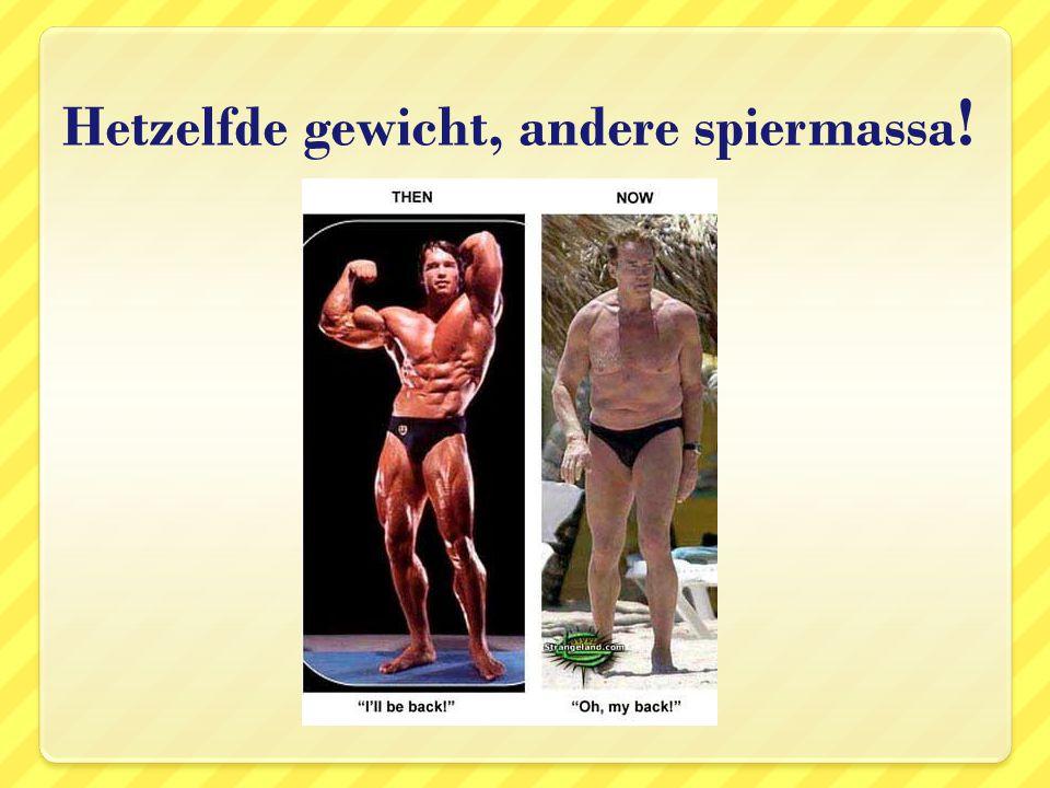 Hetzelfde gewicht, andere spiermassa!