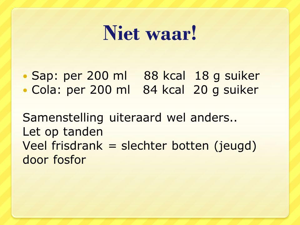 Niet waar! Sap: per 200 ml 88 kcal 18 g suiker