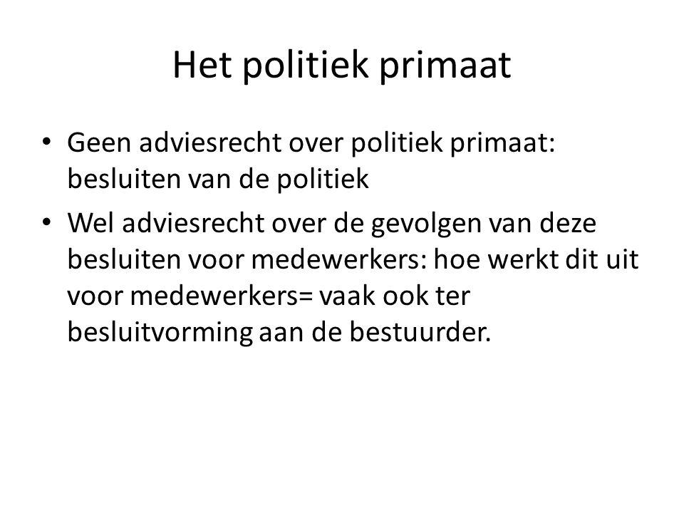 Het politiek primaat Geen adviesrecht over politiek primaat: besluiten van de politiek.