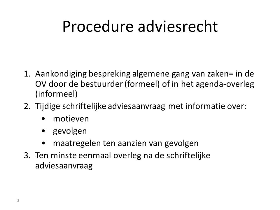 Procedure adviesrecht