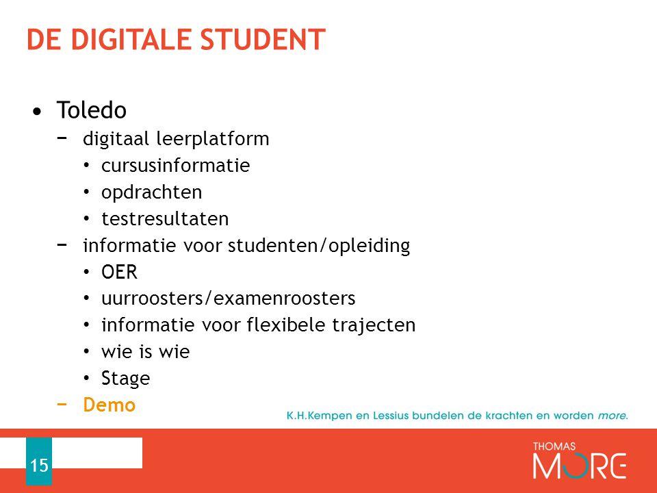 de digitale student Toledo digitaal leerplatform cursusinformatie