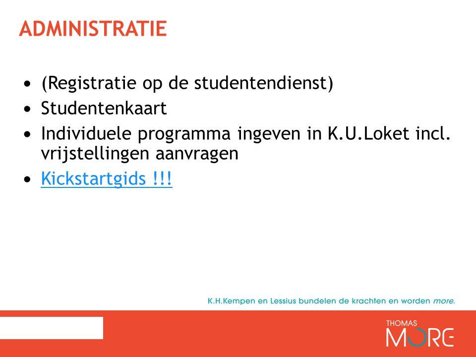 Administratie (Registratie op de studentendienst) Studentenkaart