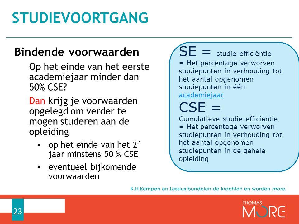 Studievoortgang SE = studie-efficiëntie CSE = Bindende voorwaarden