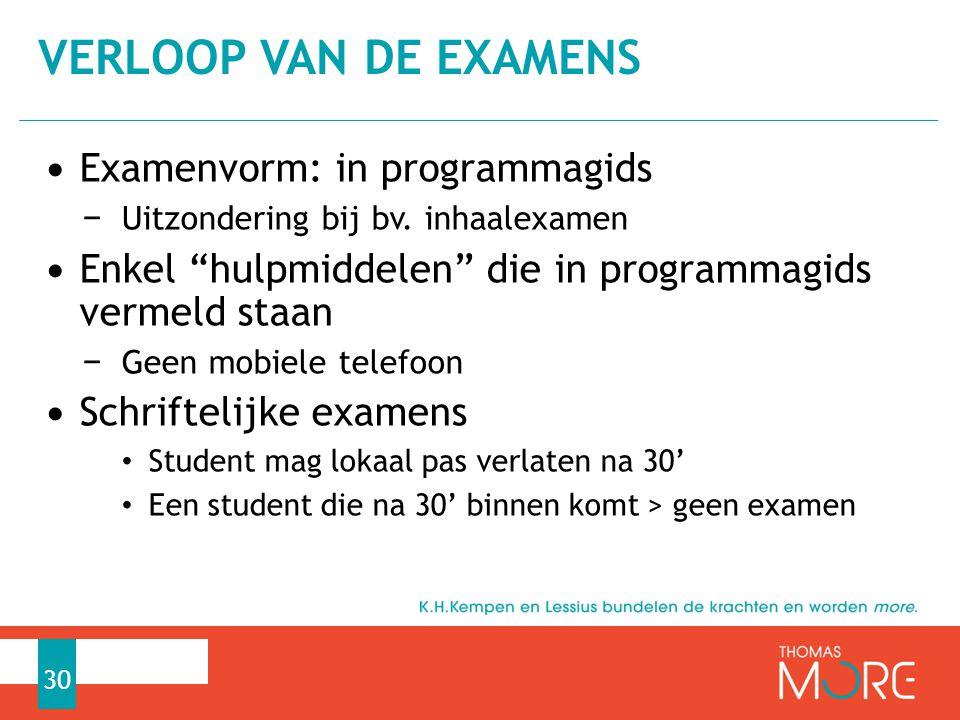 VERLOOP VAN DE EXAMENS Examenvorm: in programmagids