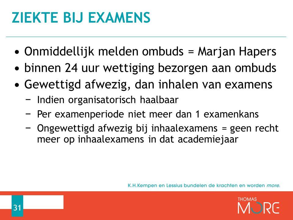Ziekte bij examens Onmiddellijk melden ombuds = Marjan Hapers