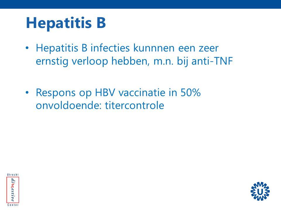 Hepatitis B Hepatitis B infecties kunnnen een zeer ernstig verloop hebben, m.n. bij anti-TNF.