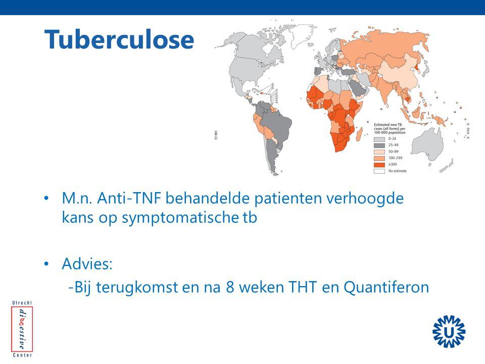 Tuberculose M.n. Anti-TNF behandelde patienten verhoogde kans op symptomatische tb.