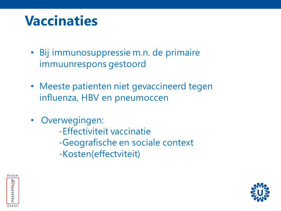 Vaccinaties Bij immunosuppressie m.n. de primaire immuunrespons gestoord. Meeste patienten niet gevaccineerd tegen influenza, HBV en pneumoccen.