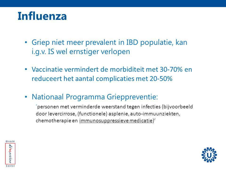 Influenza Griep niet meer prevalent in IBD populatie, kan i.g.v. IS wel ernstiger verlopen.