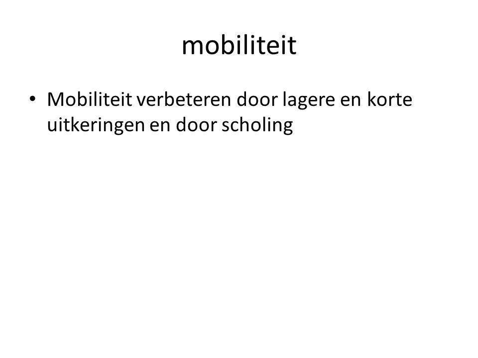 mobiliteit Mobiliteit verbeteren door lagere en korte uitkeringen en door scholing