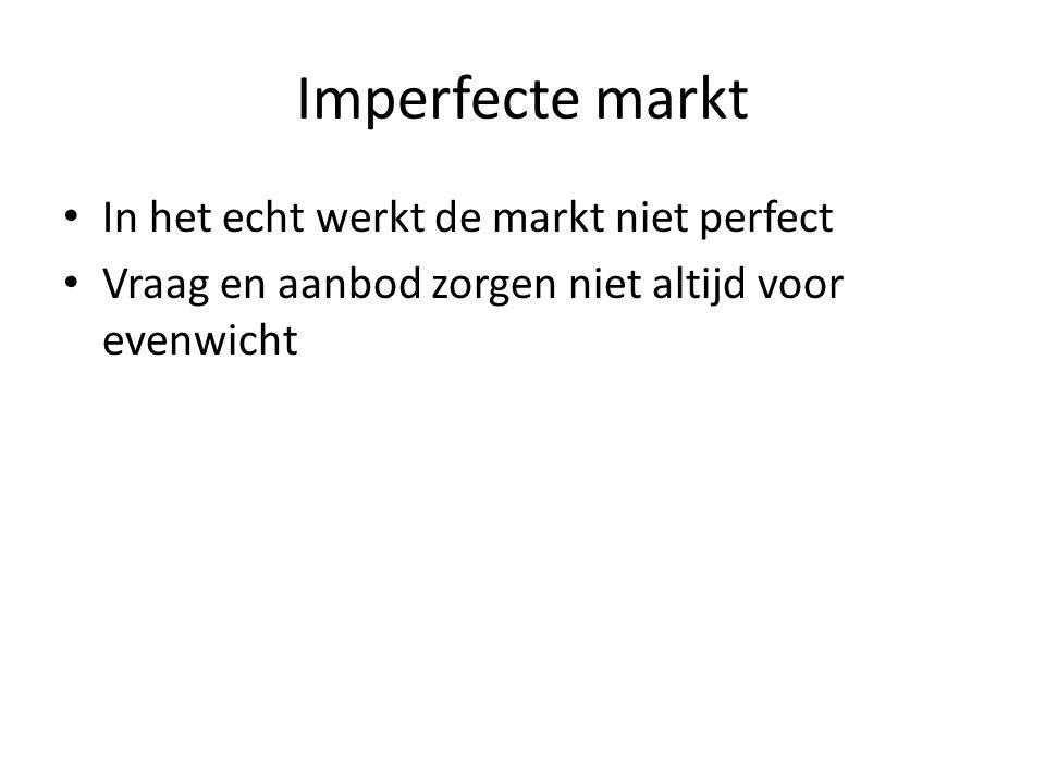 Imperfecte markt In het echt werkt de markt niet perfect
