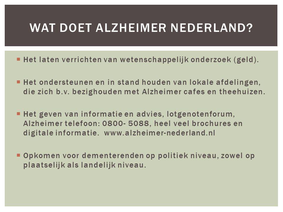 Wat doet Alzheimer Nederland