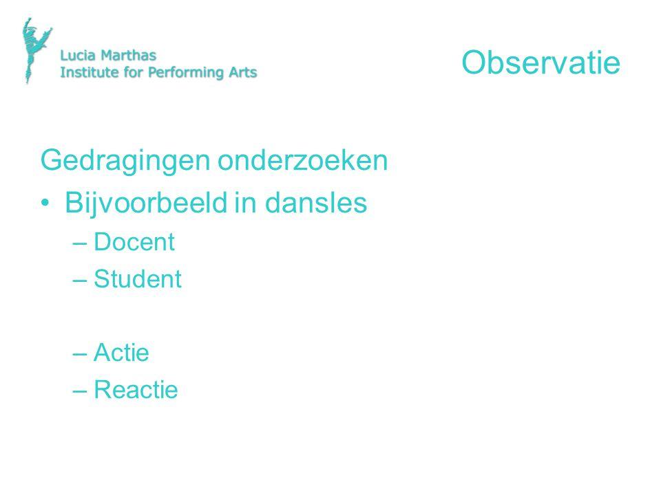 Observatie Gedragingen onderzoeken Bijvoorbeeld in dansles Docent
