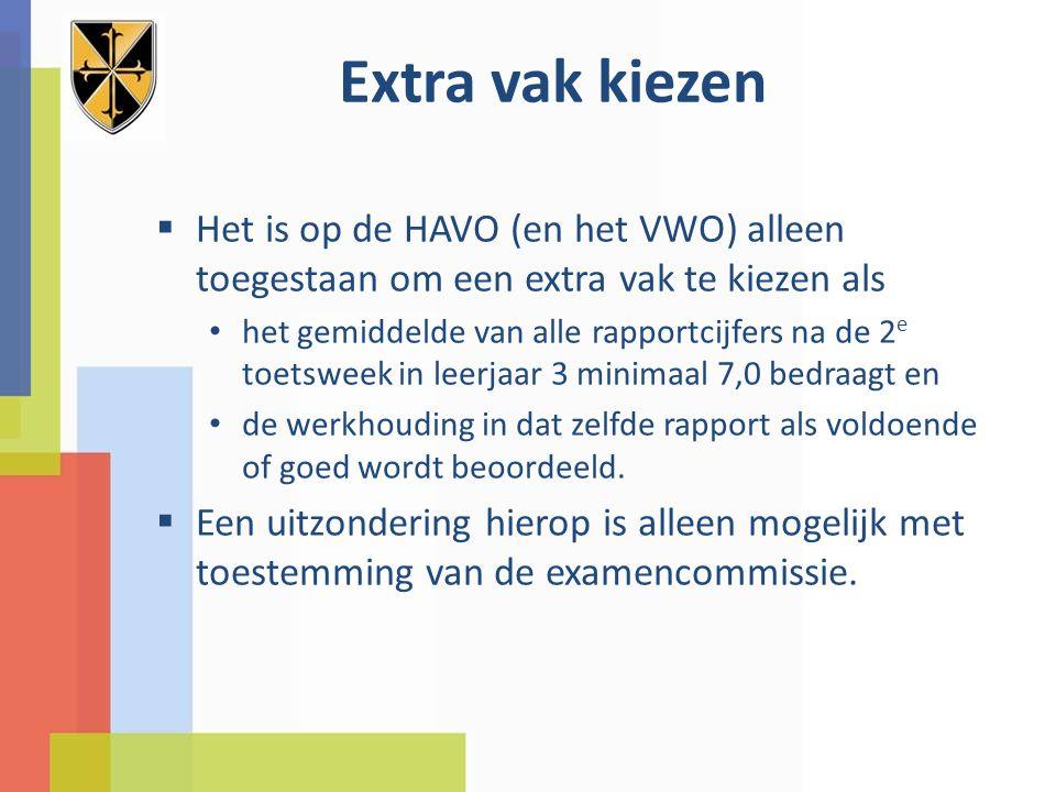 Extra vak kiezen Het is op de HAVO (en het VWO) alleen toegestaan om een extra vak te kiezen als.