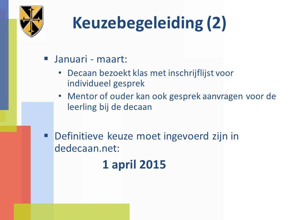 Keuzebegeleiding (2) Januari - maart: