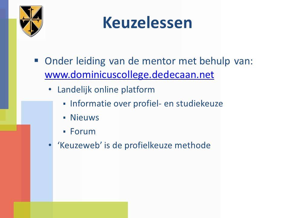 Keuzelessen Onder leiding van de mentor met behulp van: www.dominicuscollege.dedecaan.net. Landelijk online platform.