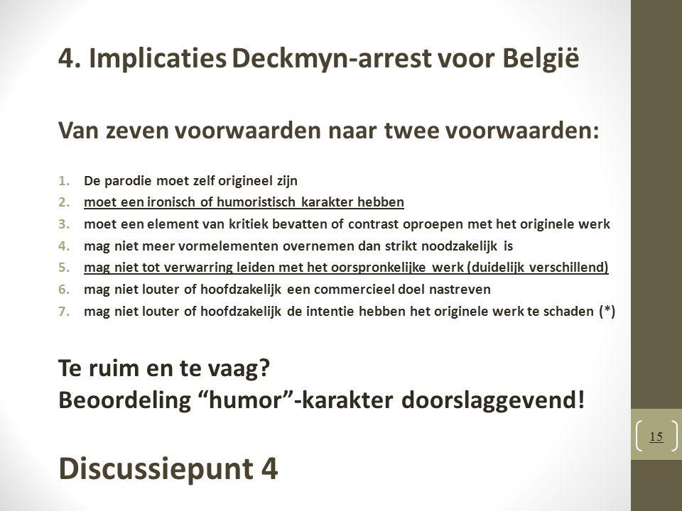 Discussiepunt 4 4. Implicaties Deckmyn-arrest voor België