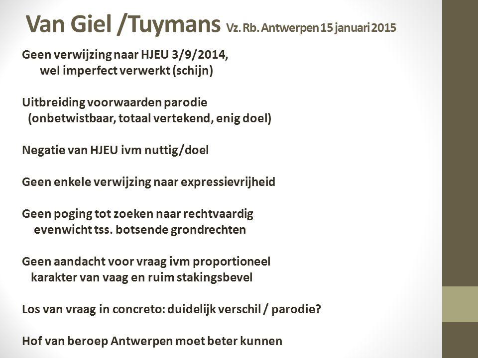 Van Giel /Tuymans Vz. Rb. Antwerpen 15 januari 2015