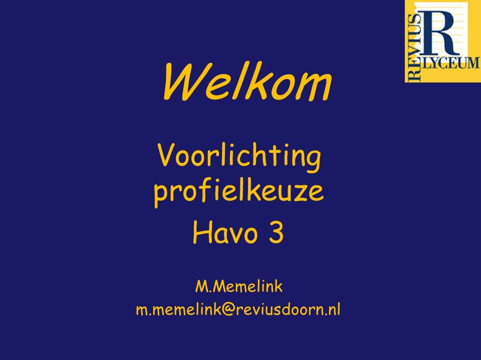 Voorlichting profielkeuze Havo 3 M.Memelink m.memelink@reviusdoorn.nl