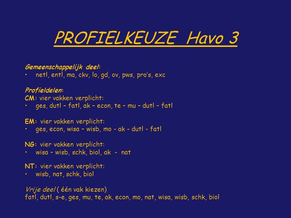 PROFIELKEUZE Havo 3 Gemeenschappelijk deel: