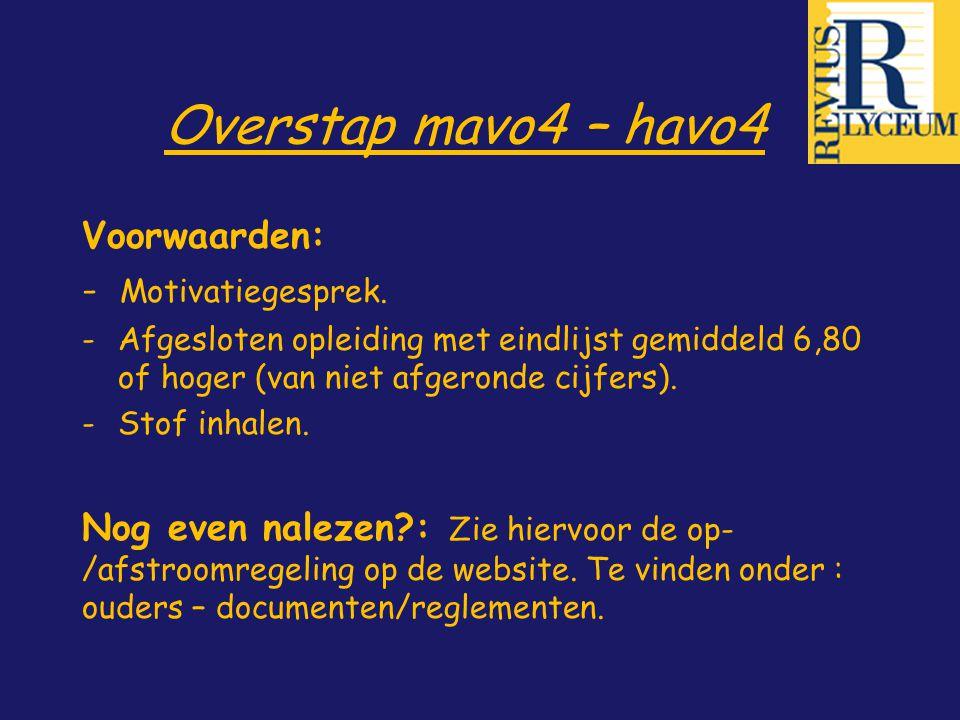 Overstap mavo4 – havo4 Voorwaarden: - Motivatiegesprek.