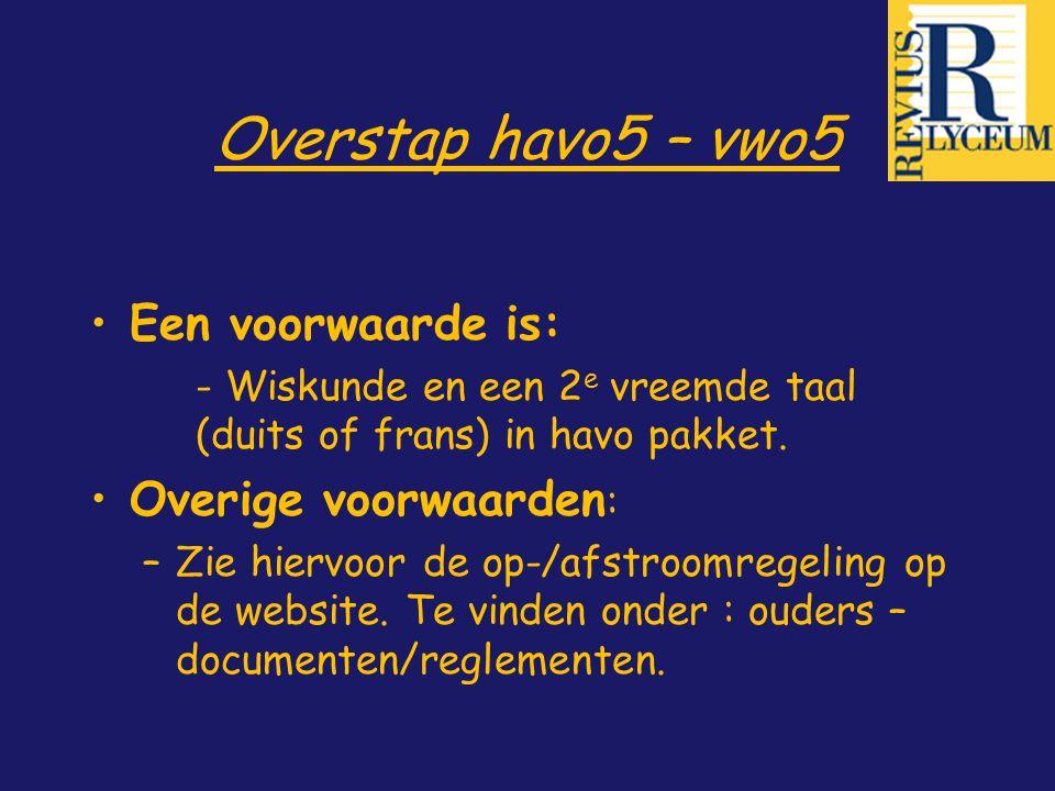 Overstap havo5 – vwo5 Een voorwaarde is: Overige voorwaarden: