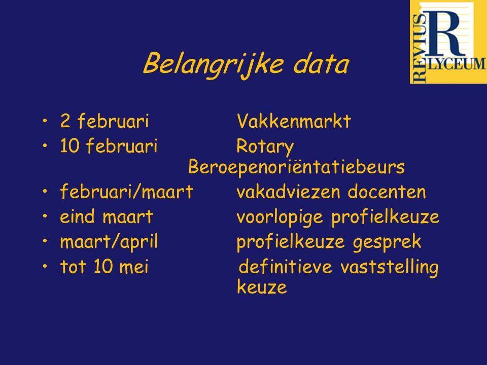 Belangrijke data 2 februari Vakkenmarkt