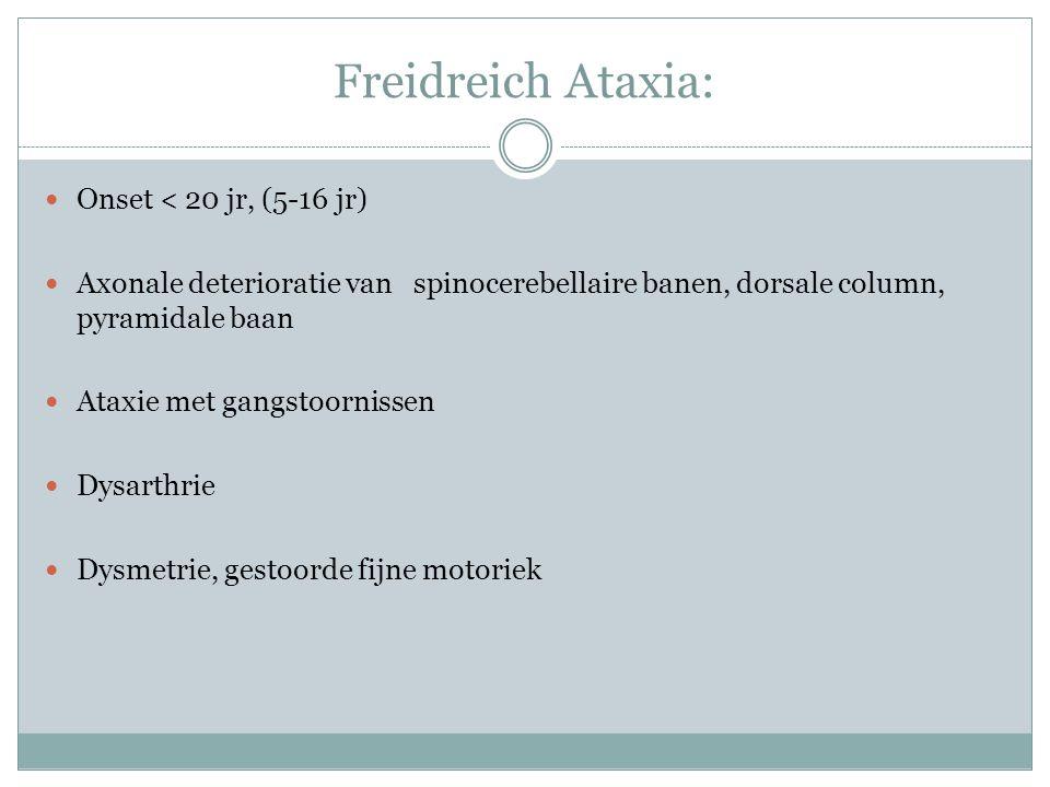 Freidreich Ataxia: Onset < 20 jr, (5-16 jr)