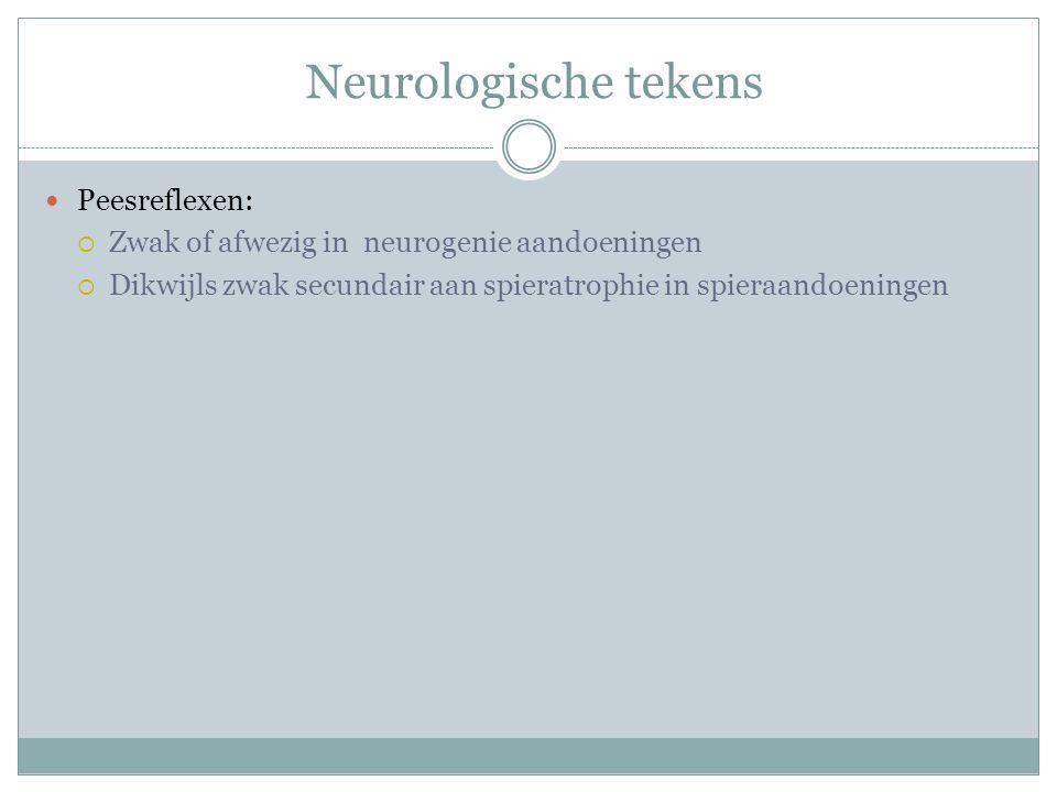 Neurologische tekens Peesreflexen: