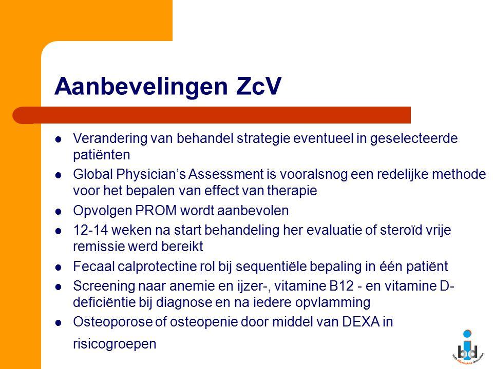 Aanbevelingen ZcV Verandering van behandel strategie eventueel in geselecteerde patiënten