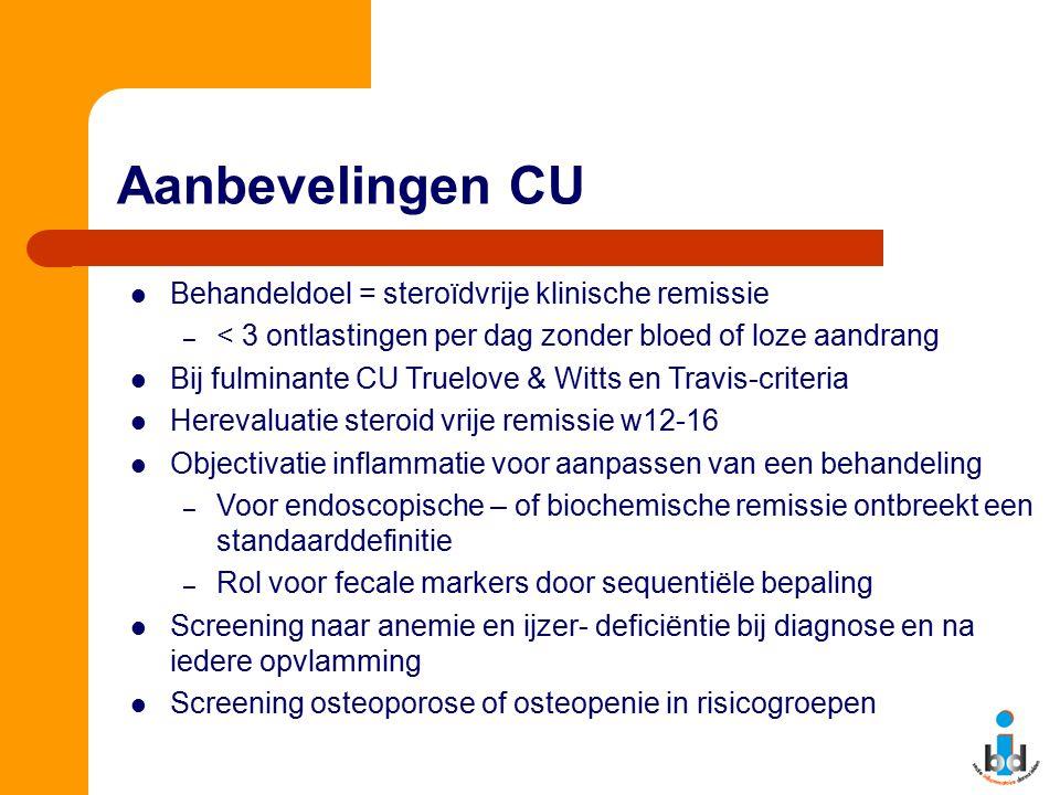 Aanbevelingen CU Behandeldoel = steroïdvrije klinische remissie