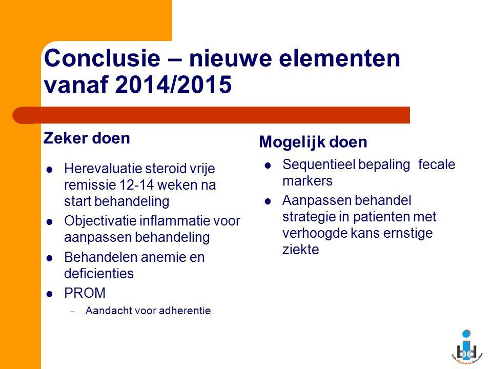 Conclusie – nieuwe elementen vanaf 2014/2015