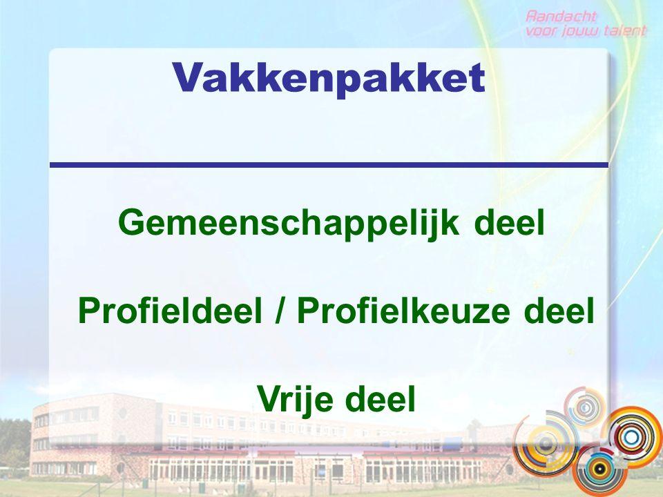 Gemeenschappelijk deel Profieldeel / Profielkeuze deel