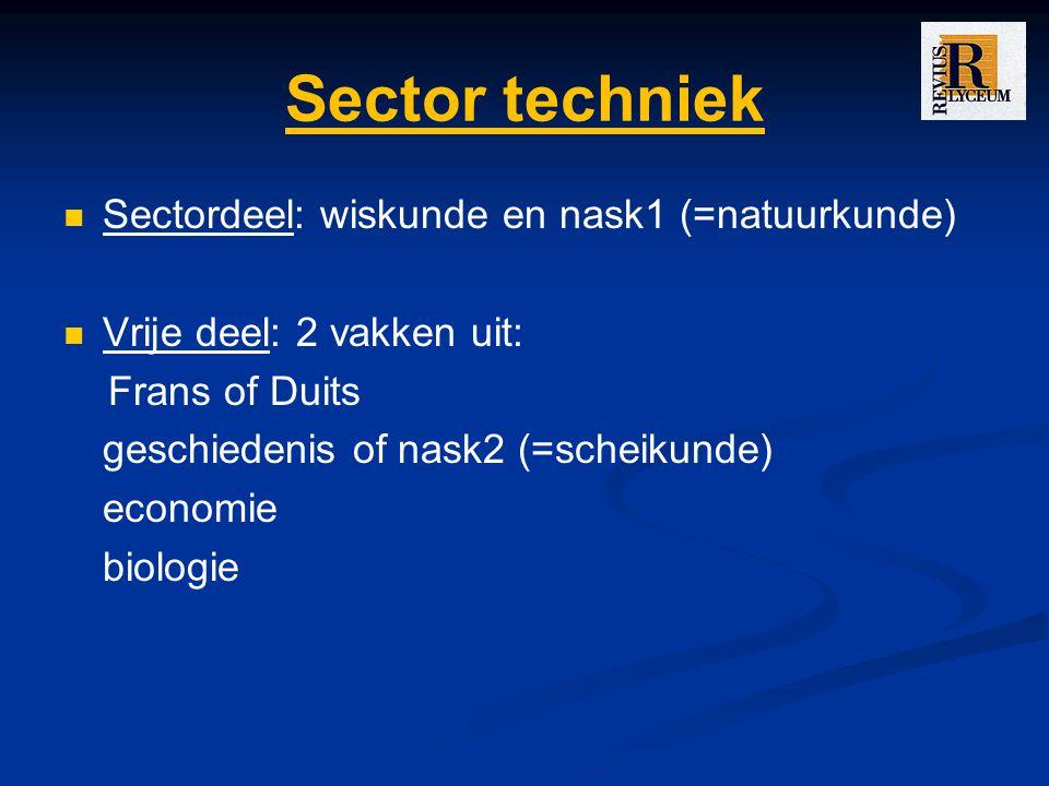 Sector techniek Sectordeel: wiskunde en nask1 (=natuurkunde)