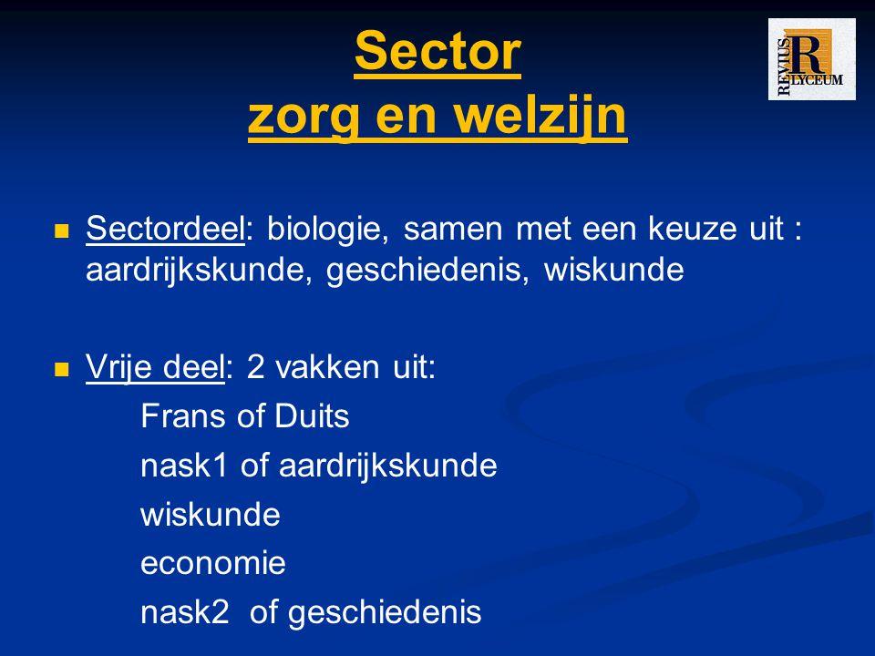 Sector zorg en welzijn Sectordeel: biologie, samen met een keuze uit : aardrijkskunde, geschiedenis, wiskunde.