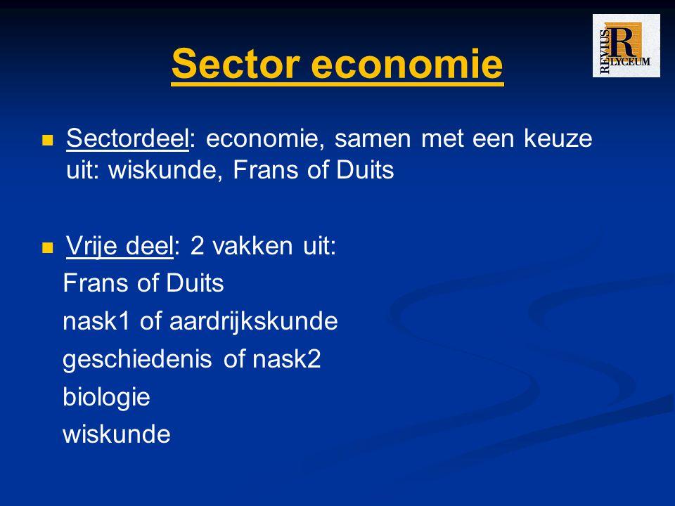 Sector economie Sectordeel: economie, samen met een keuze uit: wiskunde, Frans of Duits. Vrije deel: 2 vakken uit:
