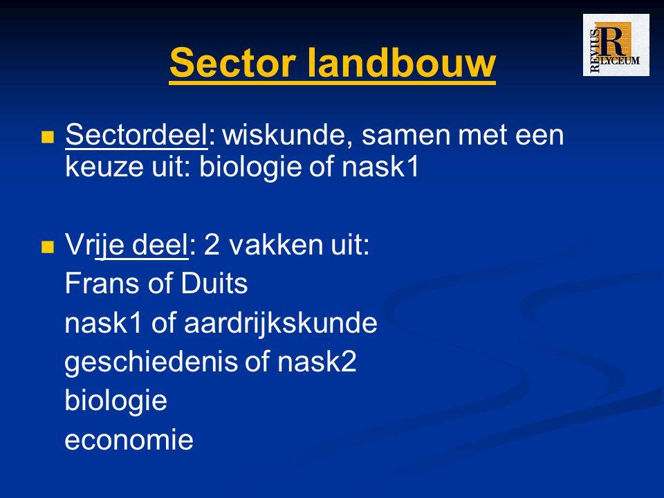 Sector landbouw Sectordeel: wiskunde, samen met een keuze uit: biologie of nask1. Vrije deel: 2 vakken uit: