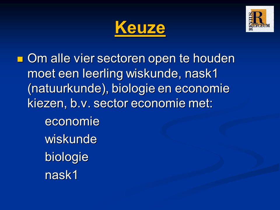 Keuze Om alle vier sectoren open te houden moet een leerling wiskunde, nask1 (natuurkunde), biologie en economie kiezen, b.v. sector economie met: