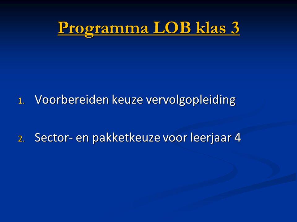 Programma LOB klas 3 Voorbereiden keuze vervolgopleiding