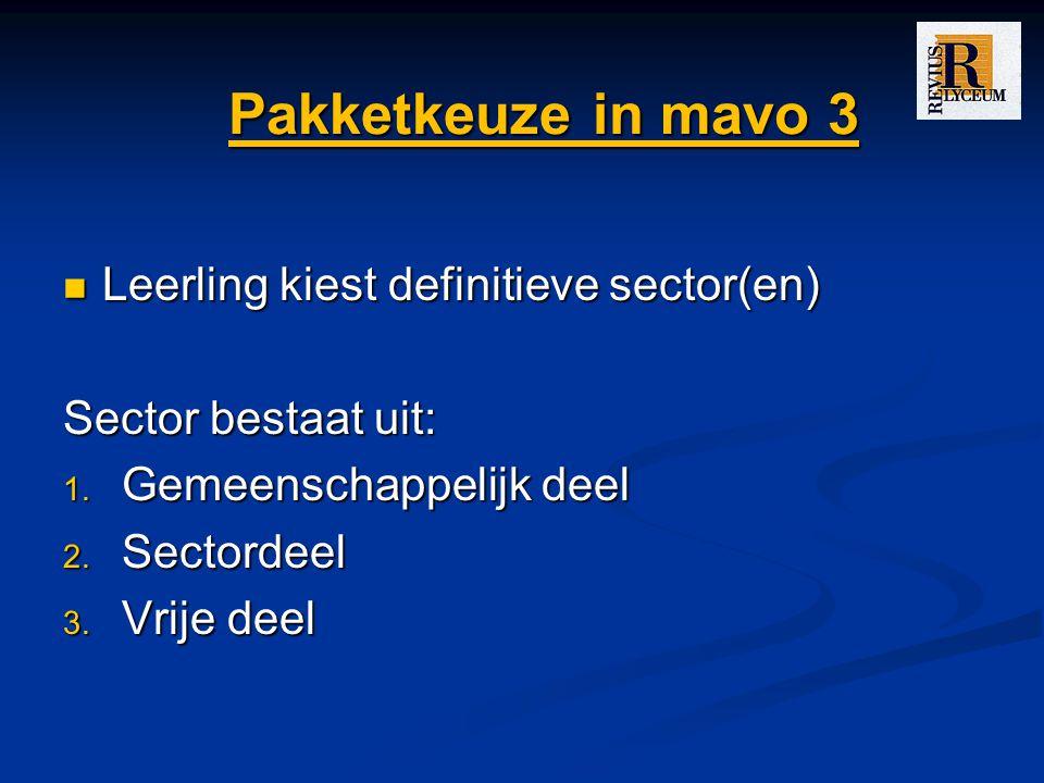 Pakketkeuze in mavo 3 Leerling kiest definitieve sector(en)