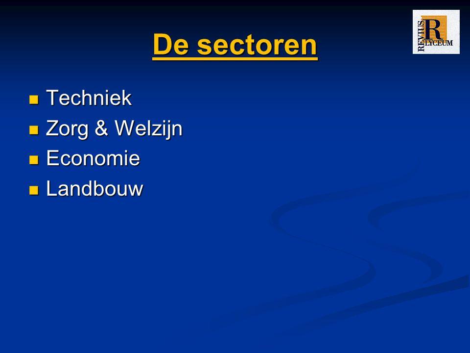 De sectoren Techniek Zorg & Welzijn Economie Landbouw