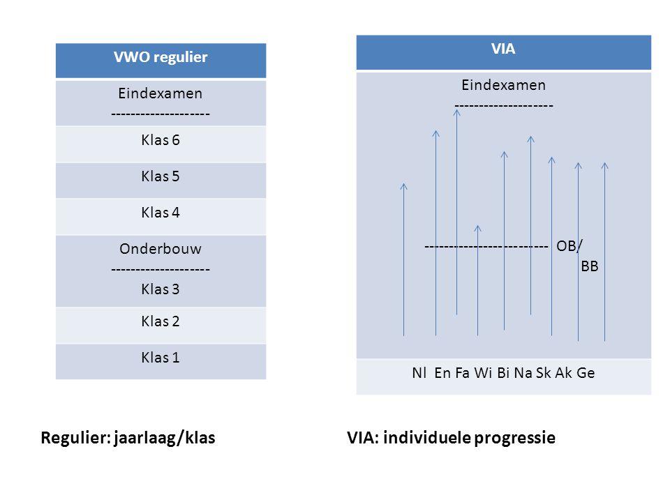 VIA: individuele progressie Regulier: jaarlaag/klas