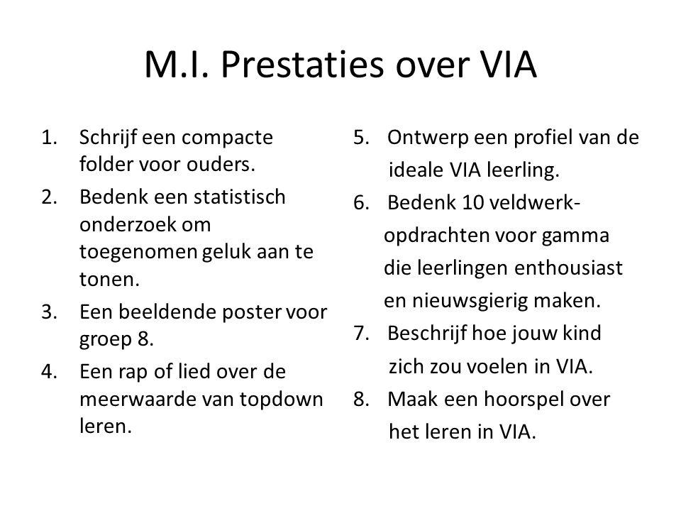 M.I. Prestaties over VIA Schrijf een compacte folder voor ouders.