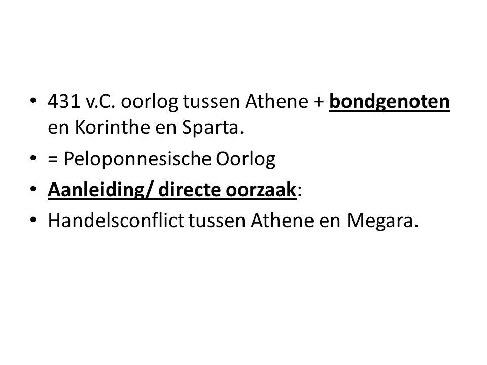 431 v.C. oorlog tussen Athene + bondgenoten en Korinthe en Sparta.