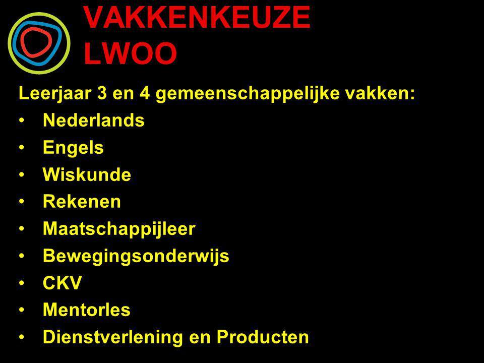 VAKKENKEUZE LWOO Leerjaar 3 en 4 gemeenschappelijke vakken: Nederlands