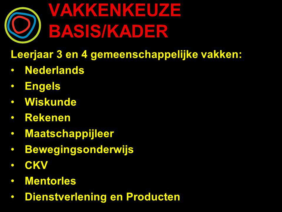 VAKKENKEUZE BASIS/KADER